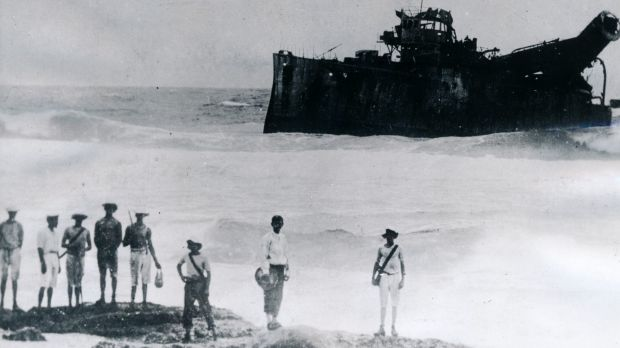"Destroyed: The German raider Emden ""beached and done for"" following her defeat at the Cocos Islands by HMAS Sydney on ..."