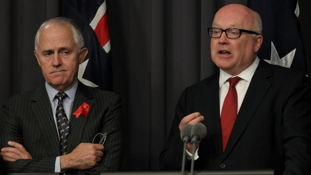 Communications Minister Malcolm Turnbull and Attorney-General George Brandis.