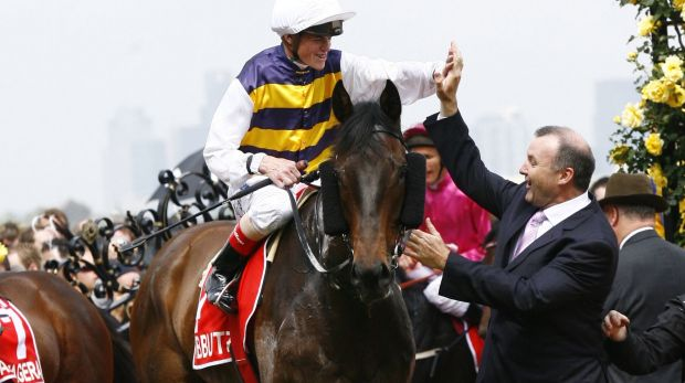 Oh yeah: David Hayes and  Craig Williams after the 2007 Derby win by Kibbutz.