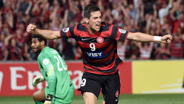 Tomi Juric celebrates a goal against Saudi Arabia's Al Hilal in the first leg of the AFC Champions League football final ...