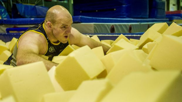 Stephen Moore in a foam pit for rehabilitation.