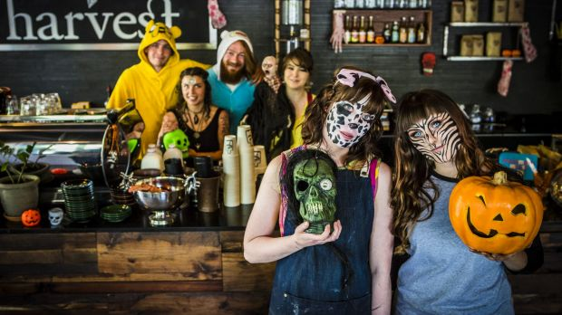 Having fun: (front from left) Harvest Coffee owner Hannah Campbell with Rebecca Bailey, and (behind from left) Sam ...