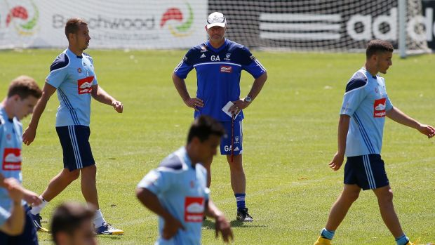 Mind games: Sydney FC coach Graham Arnold oversees a training session on Thursday.