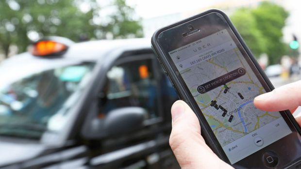 A user scans for an available vehicle using an Uber app.