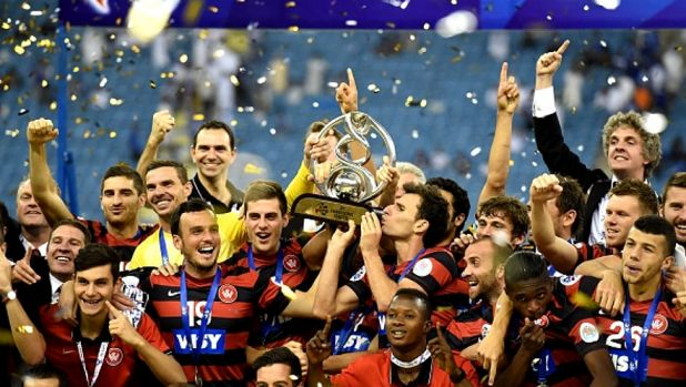 Celebration time: the Western Sydney Wanderers on the victory podium.