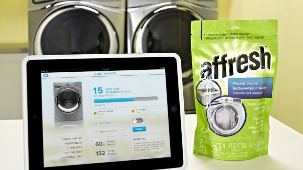 Whirlpoo's smart washing machine connects via Wi-Fi, can be stopped or started remotely, and pings your phone when its ...