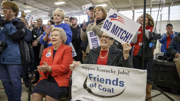 Supporters of Republican Kentucky Senator Mitch McConnell. At midterms, voter turnout tends to be older, whiter and ...