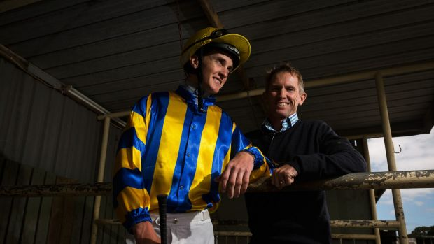 Riding rivals: Chad Schofield with his father Glyn Schofield. Both will ride in Tuesday's Melbourne Cup.