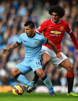 Sergio Aguero (left) and Marouane Fellaini.