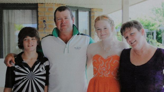 Jay, Wayne, Skye and Fiona Vickery at their Yass home. Wayne died in a construction site incident in 2011.