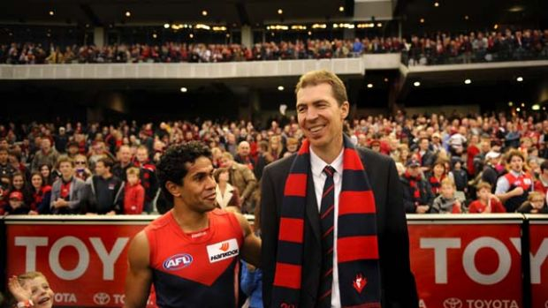 Aaron Davey with Jim Stynes after a win over Essendon this year at the MCG. Stynes' son Tiernan is in very left.