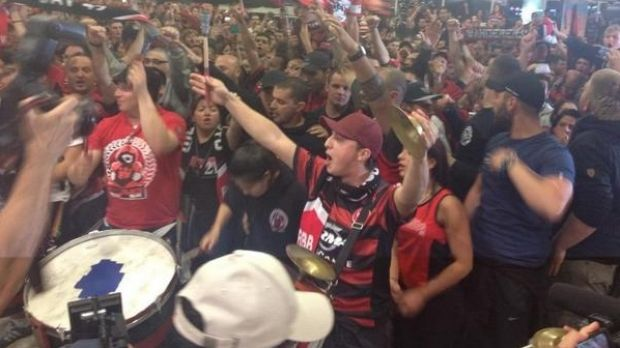 Grand welcome: Wanderers fans were in full voice on Monday night.