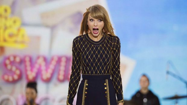 She's happy: Taylor Swift performing on ABC's Good Morning America in October 2014.