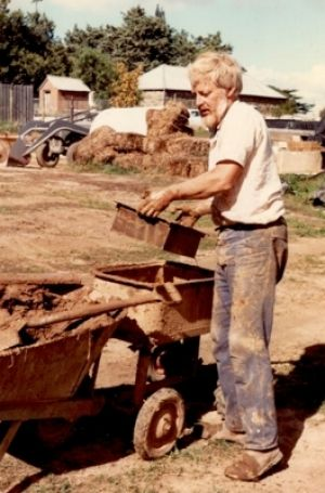 Brick by brick: Peter  Thorne makes mud bricks for the house that took nine years to build.