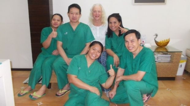 Counting down: Robyn Thorne with the Thailand medical team before the gender surgery.