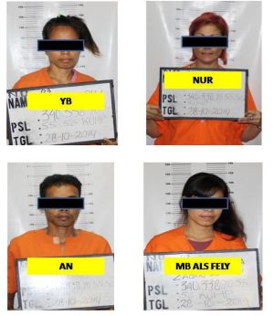 An image released by Indonesian police of four suspects in the murder of Bob Ellis.