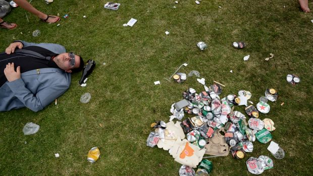 Left behind: Cans, bottles and wrappers.