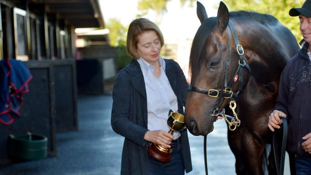 Gai Waterhouse and strapper Des Fisher with Fiorente.