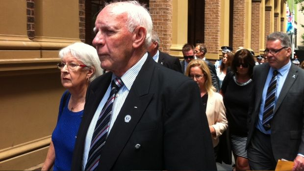 The family of Bryson Anderson leaves the Supreme Court during the trial, led by his parents Rex and Shirley.