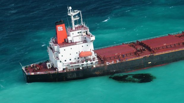 Shen Neng 1, the Chinese-registered bulk coal carrier which grounded in the Great Barrier Reef Marine Park. Scars from ...