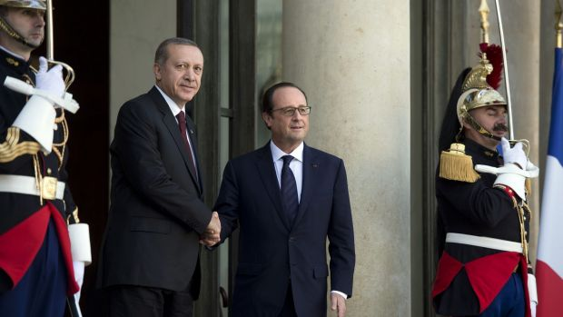 French President Francois Hollande (right) with Turkish President Recep Tayyip Erdogan at the Elysee Palace on October ...