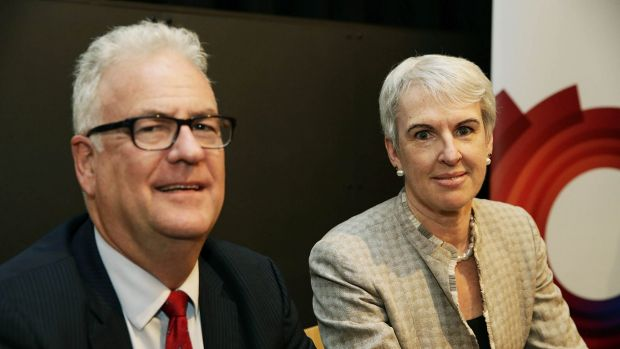 Nothing obstructionist: Transfield chief Graeme Hunt and Diane Smith-Gander.
