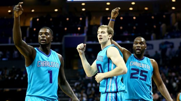 True colours: Lance Stephenson, Cody Zeller and Al Jefferson.
