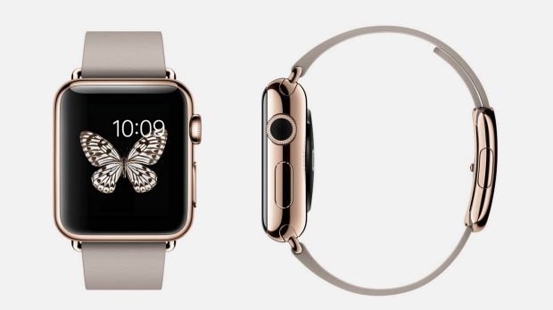 The gold 'Apple Watch Edition', shown here in pink gold with a 'modern buckle' attached, could cost $US5000 in the US, ...