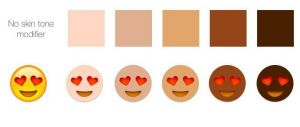 Emojipedia mock-up of the proposed five skin tone modifiers.