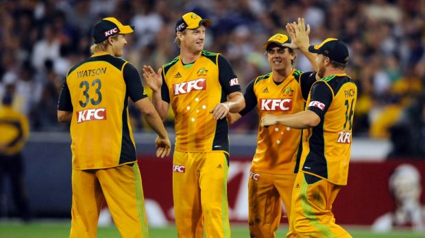 Australia celebrates a golden moment during a home Twenty20 in 2011.