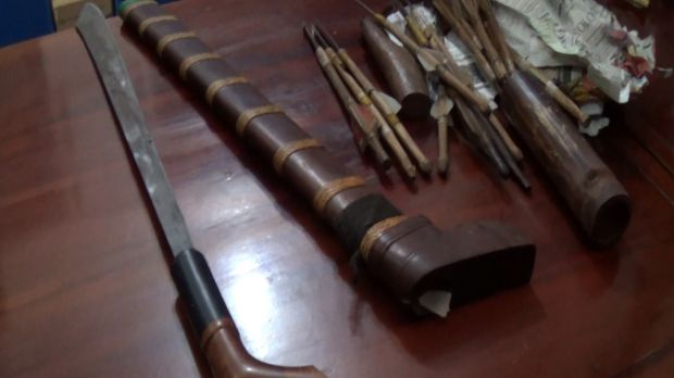 Weapons police allege to have seized from two men in West Sumba.