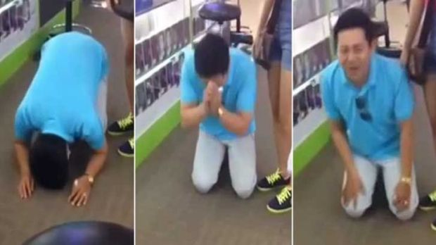 Factory worker Pham Van Thoai, 28, was made to beg for his money after being caught in a phone scam in Singapore.