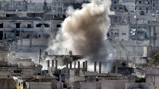 Smoke rising during a shelling by Islamic State militants to the Syrian city of Kobane.