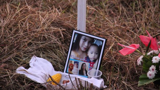 24-year-old Arali Joi Aquino, wife of a Philippines air force member, died along with her two children, Nathan, two, and ...