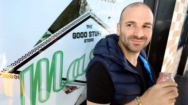 George Calombaris at soon-to-open Mastic wholefoods cafe in Kew.