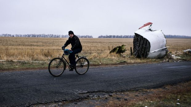 A man rides his bike past the crash site of the Malaysia Airlines plane.