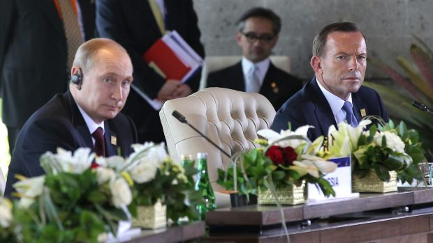 Russian President Vladimir Putin and Prime Minister Tony Abbott, pictured in Indonesia in October, will meet at APEC in ...