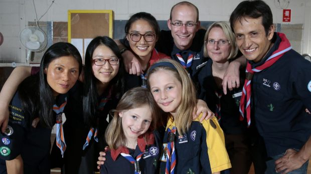 ACT Scouts from different language groups, rear from left, Chinese Phoenix Scout Group leader Joanne Guth, venturer ...