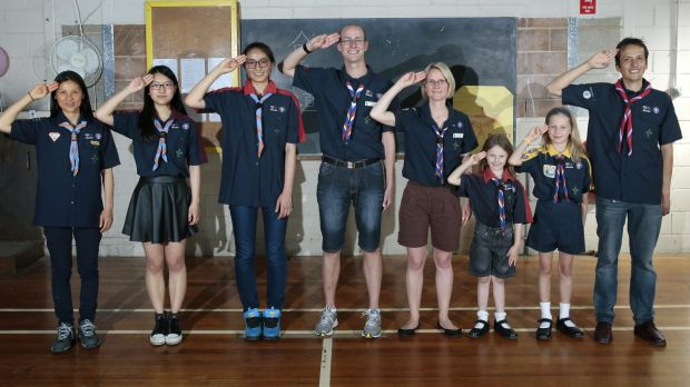 ACT Scouts from different language groups, from left, Chinese Phoenix Scout Group leader Joanne Guth, venturer Sunny Xu, ...