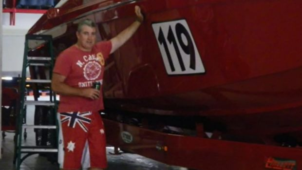 Ian Baker died  after his superclass boat flipped while travelling at 187 km/h.