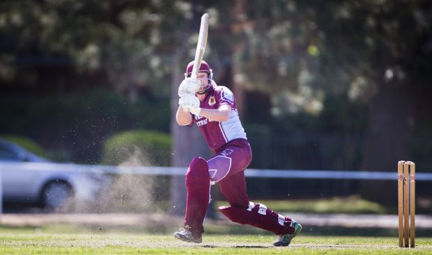 West batsman Joe Cook finds the boundary at Square Leg.