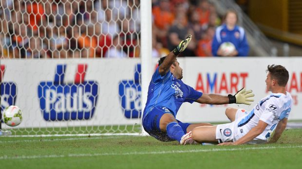 City's Marc Marino gets the ball past Roar goalkeeper Jamie Young for City's third goal.