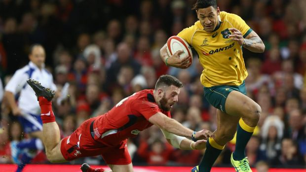 Drought broken: Israel Folau scores his first try in two months.