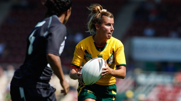 Talented: Sam Hammond looks to pass for the Jillaroos in Wollongong against New Zealand.
