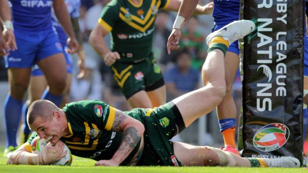 Future force: Young gun David Klemmer crashes over for a try against Samoa.