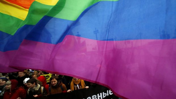 Gay rights activists take part in a march through St Petersburg earlier this month.