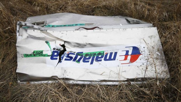Wreckage of the downed Malaysia Airlines Flight MH17 remains scattered over the countryside in the Donetsk region of Ukraine.