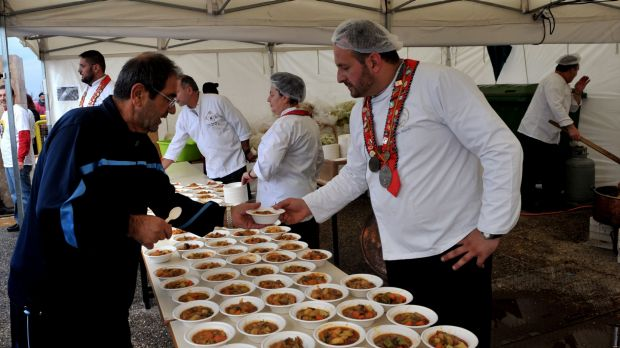 "Making good use of ""waste"": Chefs serve a free meal made up of rejected produce in Greece."