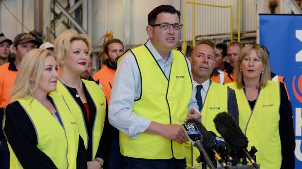 Jill Hennessy (second from left) would be transport minister in a Labor government led by Daniel Andrews (centre).