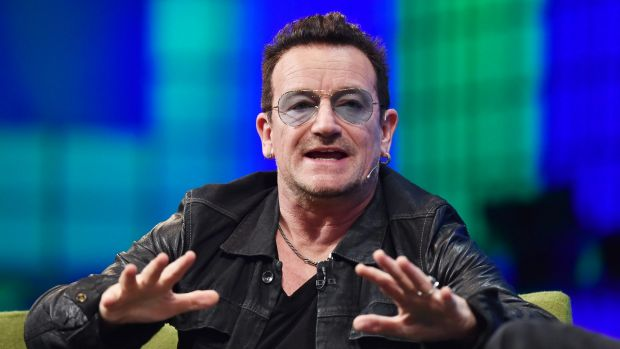 U2 frontman Bono takes the stage at the Dublin Web Summit.